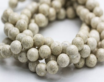 Natural River Stone Smooth Round Loose Beads 15.5'' Long Per Strand. Size 6mm/8mm/10mm/12mm. R-S-RIV-0344
