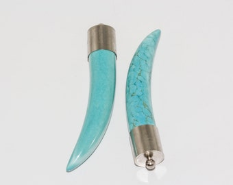 Horn Turquoise Pendants with silver plated top P-PUR-1002