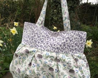 Ladies handbag,handmade,hedgehog,designer fabric, lilac , green,shoulder bag, beach bag last one!
