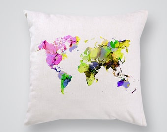 Colorful Map of the World Pillow Cover - Decorative Pillow - Throw Pillow - Gift Idea