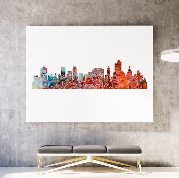 Home Decor Tulsa: Tulsa Skyline Cityscape Art Print Watercolor By SpiritColorArt