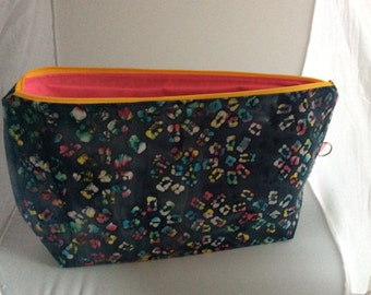 Handmade large project/tote bag (hand painted fabric )
