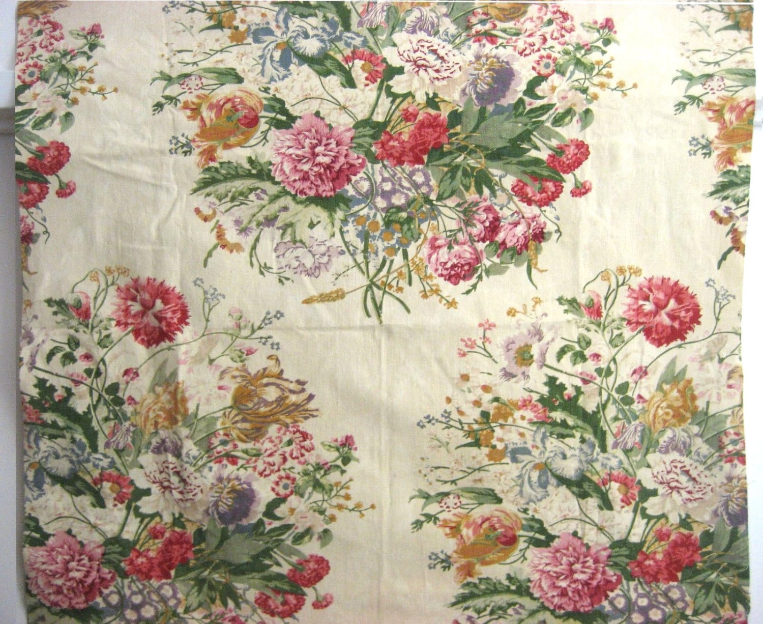 Beautiful Vintage 1930s French Floral Cotton Print Fabric