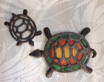 "1960's Pair Of Cast Iron Turtle Trivets - 1 Lg ""Stain-glass"", 1 Small"