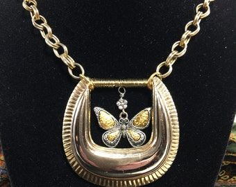 Vintage Beltbuckle Butterfly Necklace, Re-Purposed