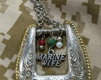 Patriotic Silver and Gold Western Belt Buckle Necklace