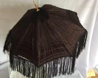 Antique Victorian folding black parasol umbrella wood braces fringe child carriage size