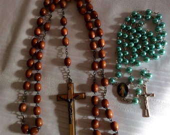 Vintage rosaries brown wood and green pearls selling together Catholic Church