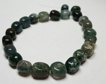 "Green Tree Moss Agate Square Nuggets 7mm 9"" strand"