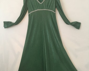 Green lurex 1970's maxi disco dress