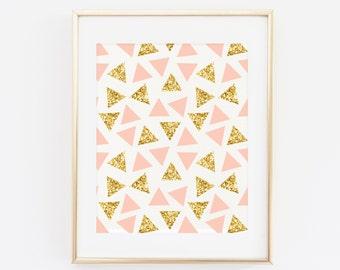 Blush Pink Printable Wall art, Modern Wall Art, Triangles, Gold Glitter Printable Art, Gold Art Print, Geometric Art Print, Modern Wall Art