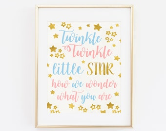 Twinkle twinkle little star how we wonder what you are, Genre Reveal Party, Baby Shower, Printable Gender Reveal Sign, Gold Pink Blue
