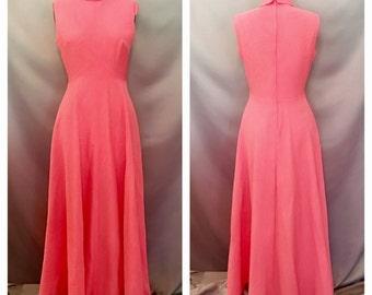 SALE!!!!! 1970's Pink Long Flowy Dress