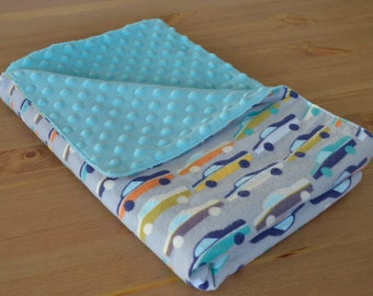 Retro Car Minky Baby Blanket - Turquoise and Gray - Baby Shower Gift