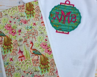 Chinoiserie Baby Burp Cloth and Onsie Gift Set