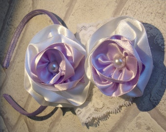 Lilac and White Alice Band and Baby Headband Set