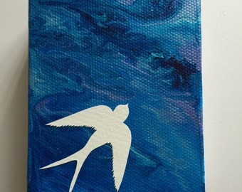 """Solo. Mini canvas with papercut swallow 3""""x4"""" blue"""