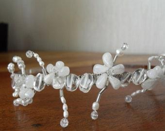 White Pearl Genuine Cultured Freshwater. Swarovski Crystal Elements Quartz Moonstone Flower DesignTiara. Wedding or Prom Bride Bridesmaid.