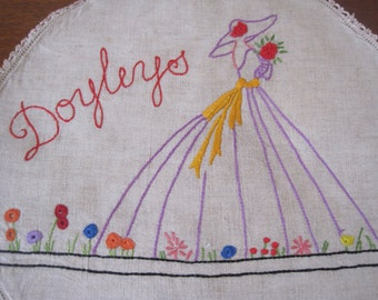 Vintage Crinoline Lady Material Embroidered Doiley Holder