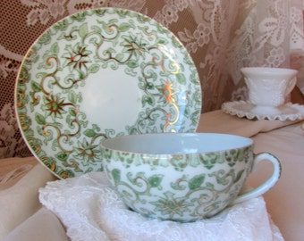 Swirly Floral Green Cup and Saucer