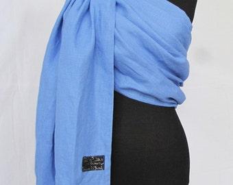 Pure Linen Ring Sling Summer Baby Carrier Newborn Sling - Blue Linen - Wrap Conversion Woven/Ring Sling