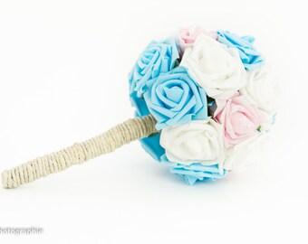 Bridal bouquet, wedding bouquet, bride bouquet, blue, pink and white, blue, pink and white