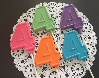 NUMBER FOUR Chocolate Lollipops(12 qty)-4th Birthday/Fourth Birthday Favor/Number 4 Lollipop/Party Favor/4th Birthday Pop/4th Birthday Party