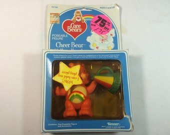 """CARE BEARS Poseable Figure 3.5 """"Cheer Bear with Merry Megaphone"""" 1984 NEW"""