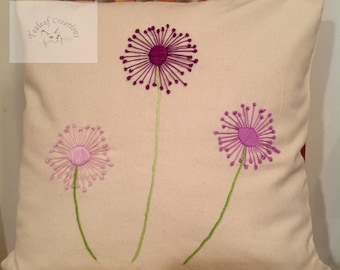 REDUCED - Hand Embroidered Dandelion Cushion/Pillow - 40cm x 40cm - Natural Pillow
