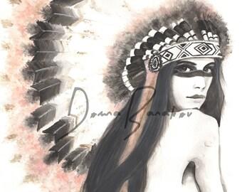 African American Tribal Portrait - Watercolor Illustration