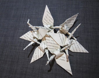 Paper Cranes made out of pages from Harry Potter and the Sorcerer's Stone
