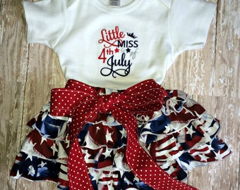 Little Miss 4th of July embroidered bodysuit and ruffle skirt