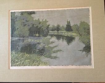 Artist Gordon Mortensen, Minnesota  Pond 24/52 73 Reduction Woodcut 20/31, 73