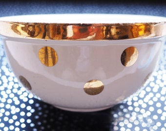 Hall's Gold on Cream Polka Dot Zeisel Serving Mixing Bowl No. 1377