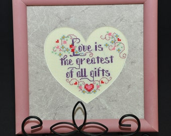 "Small Vintage Petit Point NEEDLEPOINT Cross Stitch Sampler Wall Art ""Love is the greatest of all gifts"" Heart shaped matted & wooden frame"