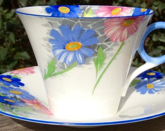 Pretty in Pink-and Blue Shelley Art Deco Teacup and Saucer