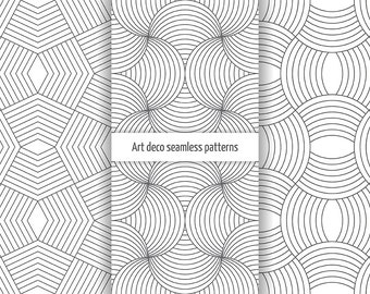 Set of art deco vector seamless patterns. Digital paper. Scrapbook. AI+EPS10+JPEG+PNG. For commercial and personal use. Modern linear design