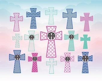 Cross SVG cut files, Christian cross monogram frames, Files for vinyl cutting machines Silhouette Cricut, Die cut machine designs