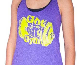 Got Gym? Purple and lime green women's tank