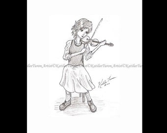 Pen and Ink Drawing, The Violinist, Pencil Drawing, Artwork, Fantasy Drawing, Fantasy Art, Elf Drawing, Musical Elf Drawing, Wall Art Decor