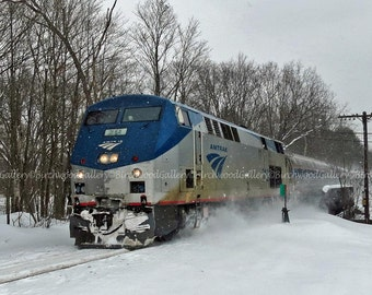 Train Photography,  Amtrak Train, Snow Train, Color Photography, Winter Photography, Snow Photography, Landscape Photography, Seasonal Photo