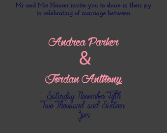 Custom Wedding Invitations-RSVP Card Included-Simple Modern Invitation