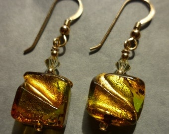 Murano glass earrings - chartreuse and gold squares with Swarovski crystals and gold filled ear wires