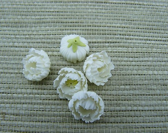 5 pcs. or more peony white flowers, polymer clay flower bead, white flowers