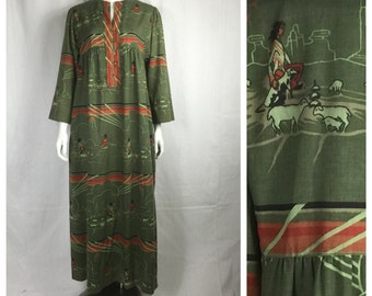 Vtg 70s southwestern avant garde print novelty navajo colorblock maxi dress bohemian