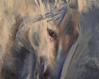 Grey Horse - Fine Art Giclee Print - Wall Decor - Oil Painting by Sophie Latifa