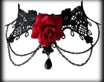 Black Lace Gothic Choker with Red Rose - Burlesque - Victorian - Elegant - Valentine - Romantic