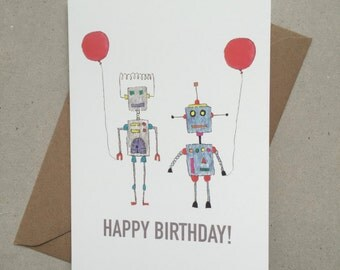 Hand painted robot birthday card with balloons