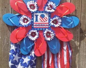 I love America patriotic flip flop wreath, summer door hanger, wall hanging