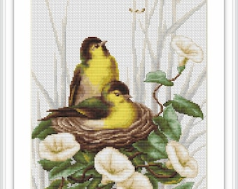 Luca-S Counted Cross Stitch Kit Birds in the Nest B2240 Lucas